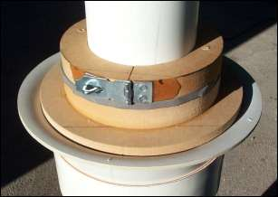 Photo of clamp used on the centering jig